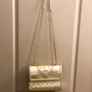 Large Gold TB Fleming Crossbody Bag